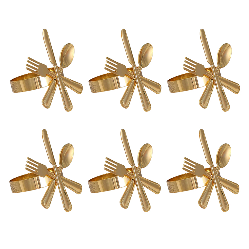 6 Pack Napkin Buckle Fork Knife Spoon Silver Napkin Rings Tableware Napkin Holder for Wedding Party Table Decoration Napkin Rings     - title=