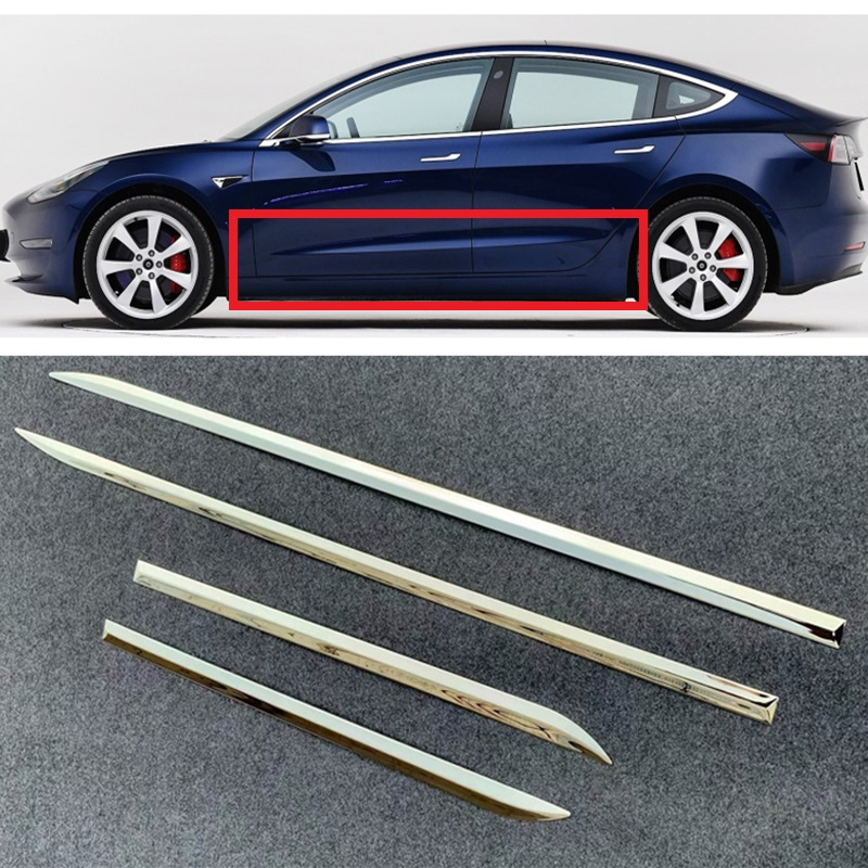For Tesla Model <font><b>3</b></font> 2017 2018 2019 Stainless Steel Glossy Door Side Line Body Molding Trim Cover Garnish Accent Strip 4pcs image