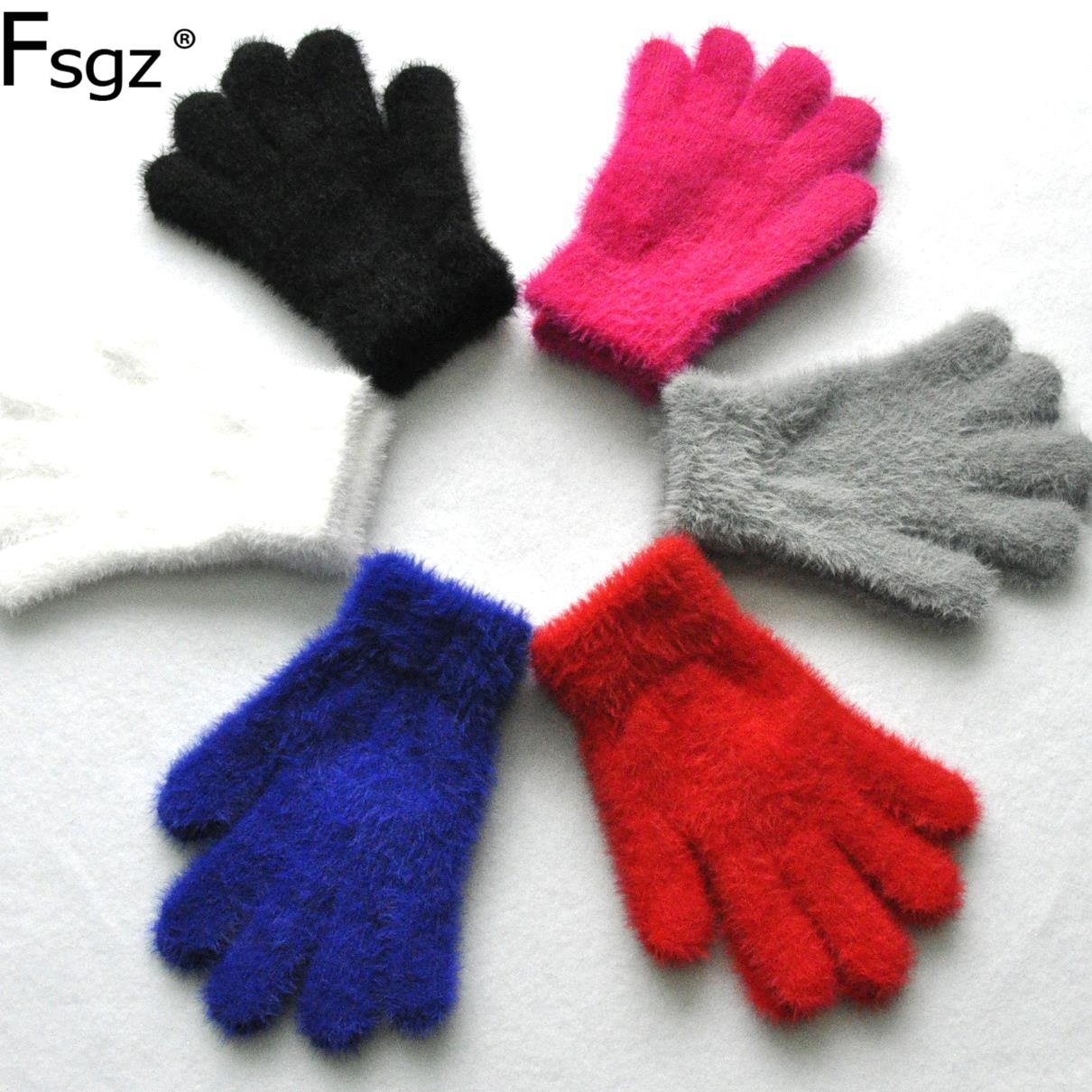 6-12 Years Old Student Gloves Solid Imitation Mink Gauntlets Good Quality Thickening Keep Warm Winter Fingers Golve For Children