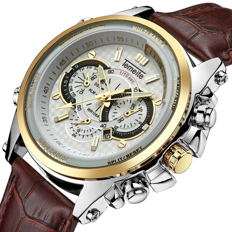 TEMEITE Classic Fashion Leather Strap Men Quartz Wristwatch Date Display Luminous Hands Waterproof Luxury Brand Clock Male Watch