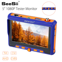 SEESII 5 HD 1080P Tester Monitor TVI CVI AHD VGA CVBS 4in1 IP CCTV Security Camera PTZ RS485 Control 2MP 12V tester camera