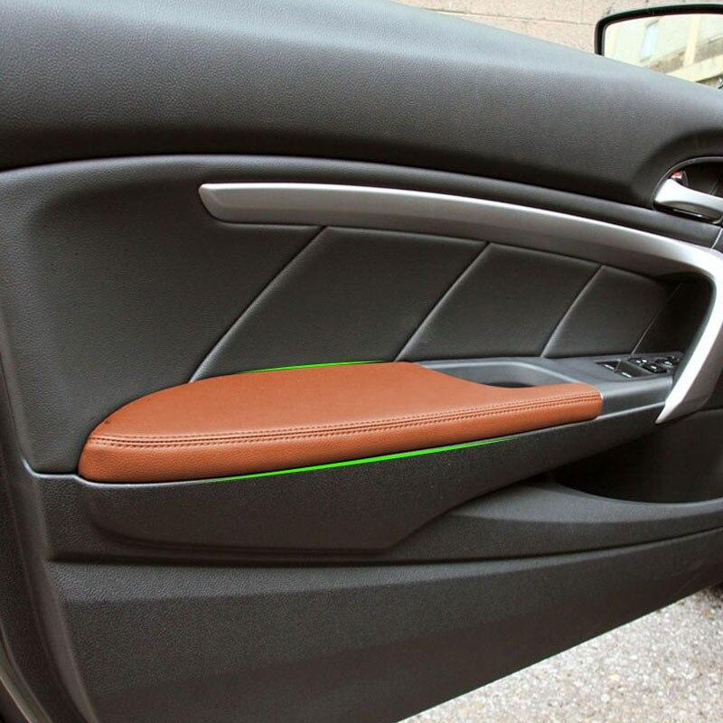 Ручка передней двери автомобиля подлокотник Панель чехол из кожи на основе микроволокна внутренняя отделка для Honda Accord 8th купе 2008 2009 2010 2011 2012
