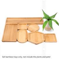 1PC 14 Design Flower Pot Holder Fleshy Bonsai Pad Bamboo Tray Wooden Flowerpot Tray Home Office Decor Planter Pots Mat Stand