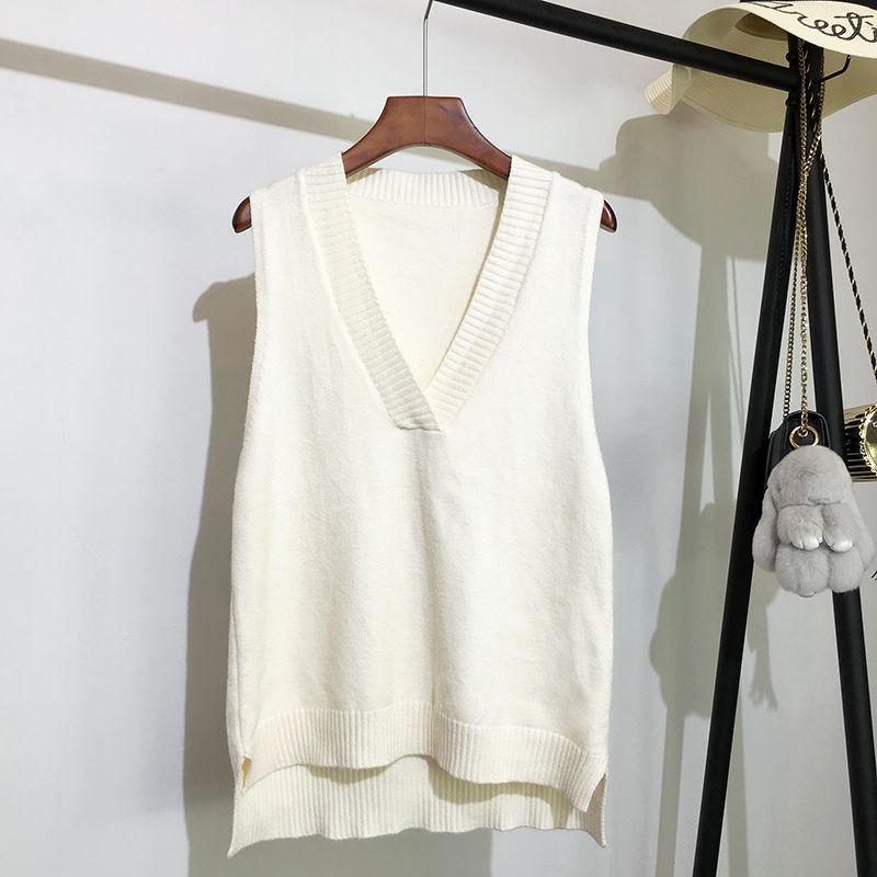 Maglione lavorato a maglia con scollo a v maglione da donna autunno e inverno nuovo maglione senza maniche maglione selvaggio allentato coreano 3