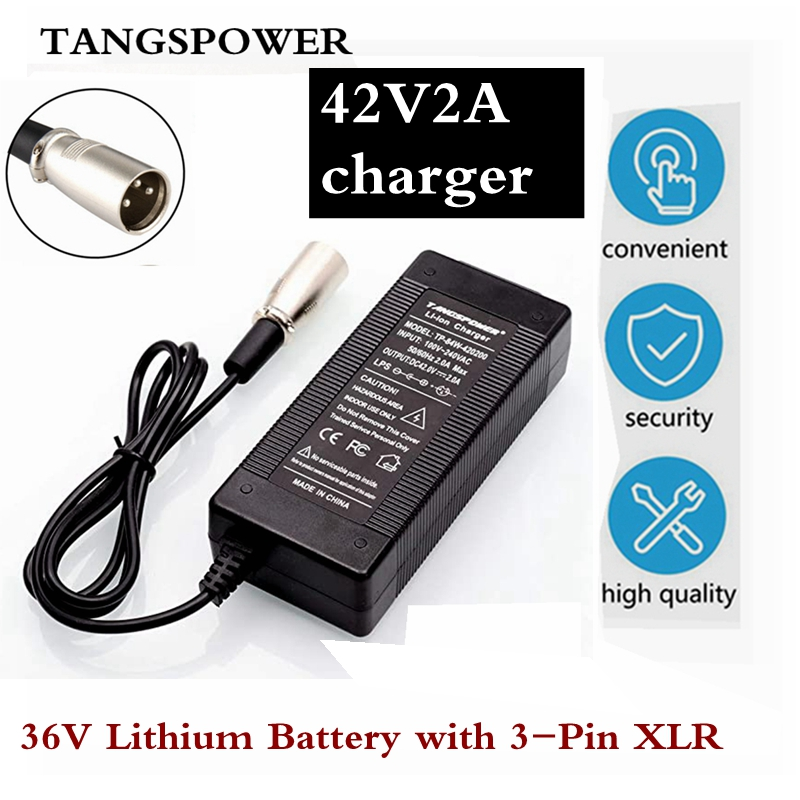 36V 42V 2A Electric Bicycle Lithium Battery Charger for 36V Lithium Battery with 3-Pin XLR Plug   Connector