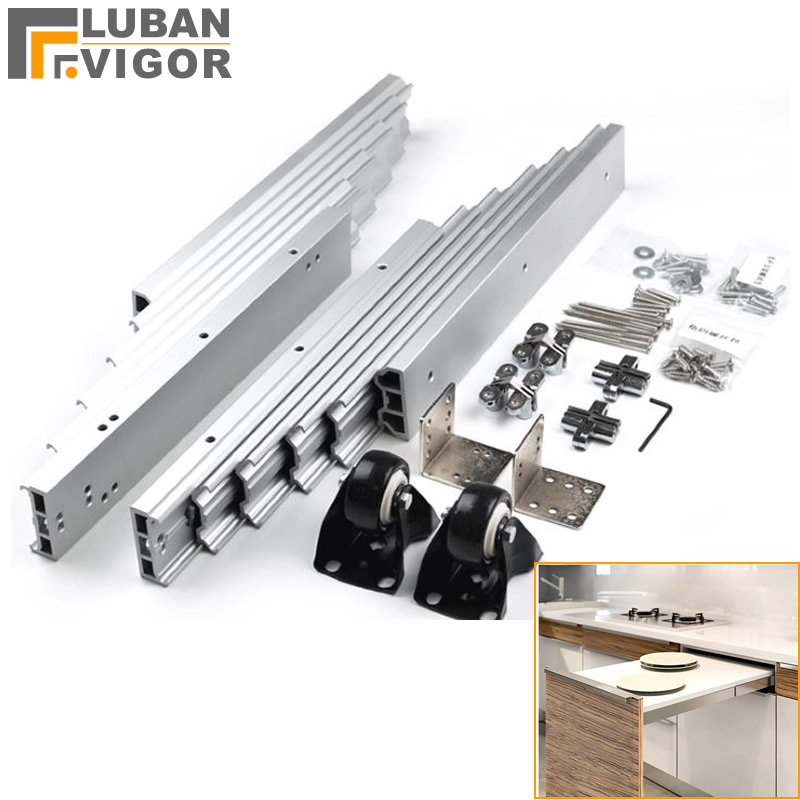 Скрытый складной стол направляющий рельсовый шарнир, Алюминиевый телескопический шкаф стол горка, плоский толчок складной мебельной фурни