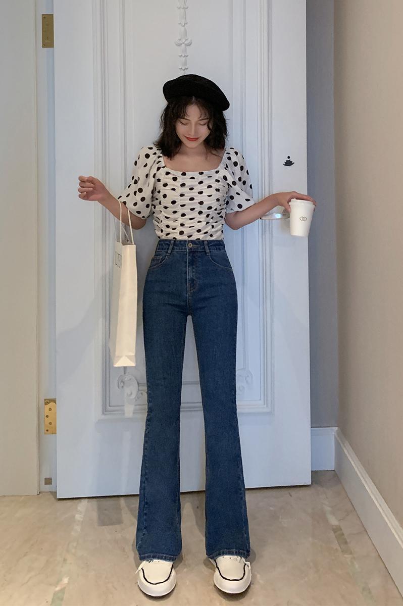 Woman Blue Flare Hem Skinny   Jeans   Long Denim Trousers Vintage Pants2019 Autumn High Waist Stretch   Jeans
