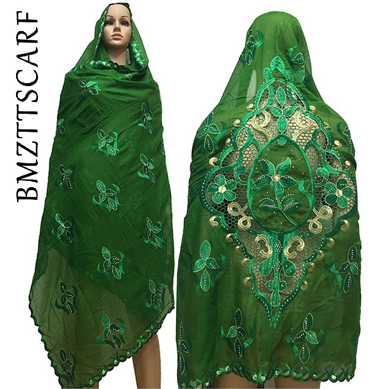 Latest African Scarfs Muslim Women Scarf Embroidery Desgin On Back Fashional Desgin Big Cotton Scarf For Shawls BM597