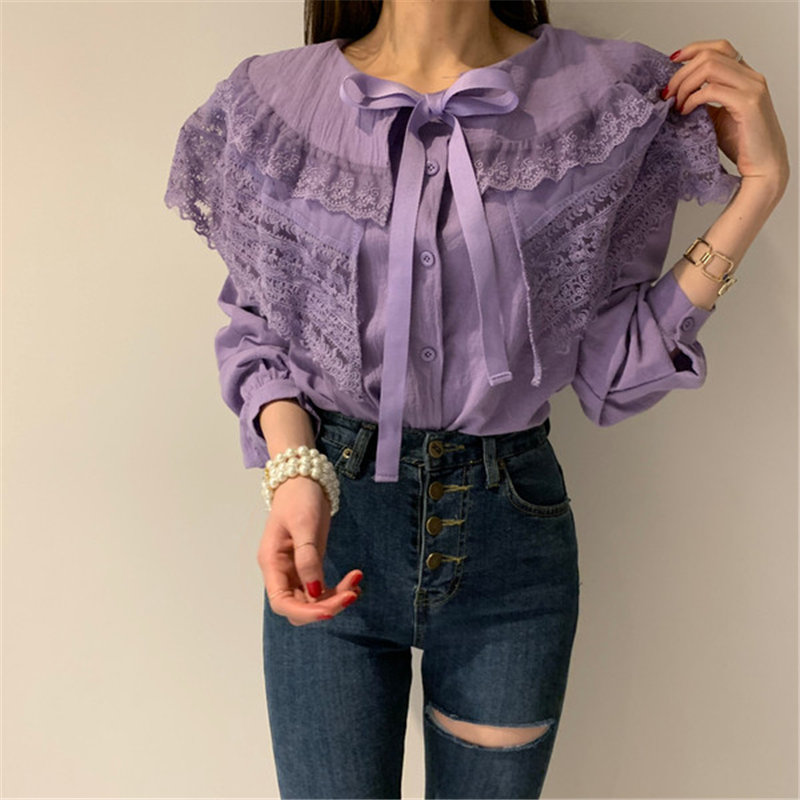 Alien Kitty Lace Ruffles Bow Patchwork Full-Sleeved Blouses 2020 Sweet Chic Brief Stylish Women All-Match Elegant Gentle Shirts