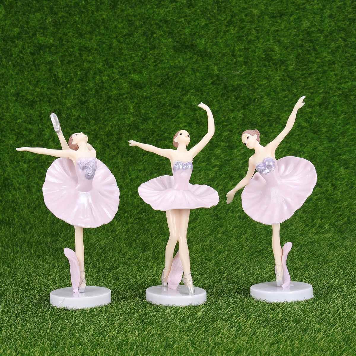 3pcs Ballerina Statua Ornamento Desktop Ballerina Figurine Ornamenti Figurine Miniature Dancing Girl Artigianato Figurine decorazioni per La Casa