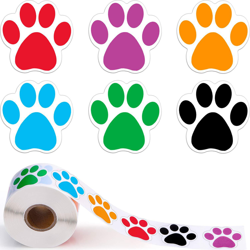 500pcs colorful Paw Print Stickers Dog cat bear Paw Labels Stickers for laptop reward sticker statio