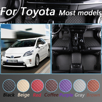 Custom Made Car Floor Mats For Toyota corolla All Models land cruiser prado camry highlander yaris Leather Foot Mats image