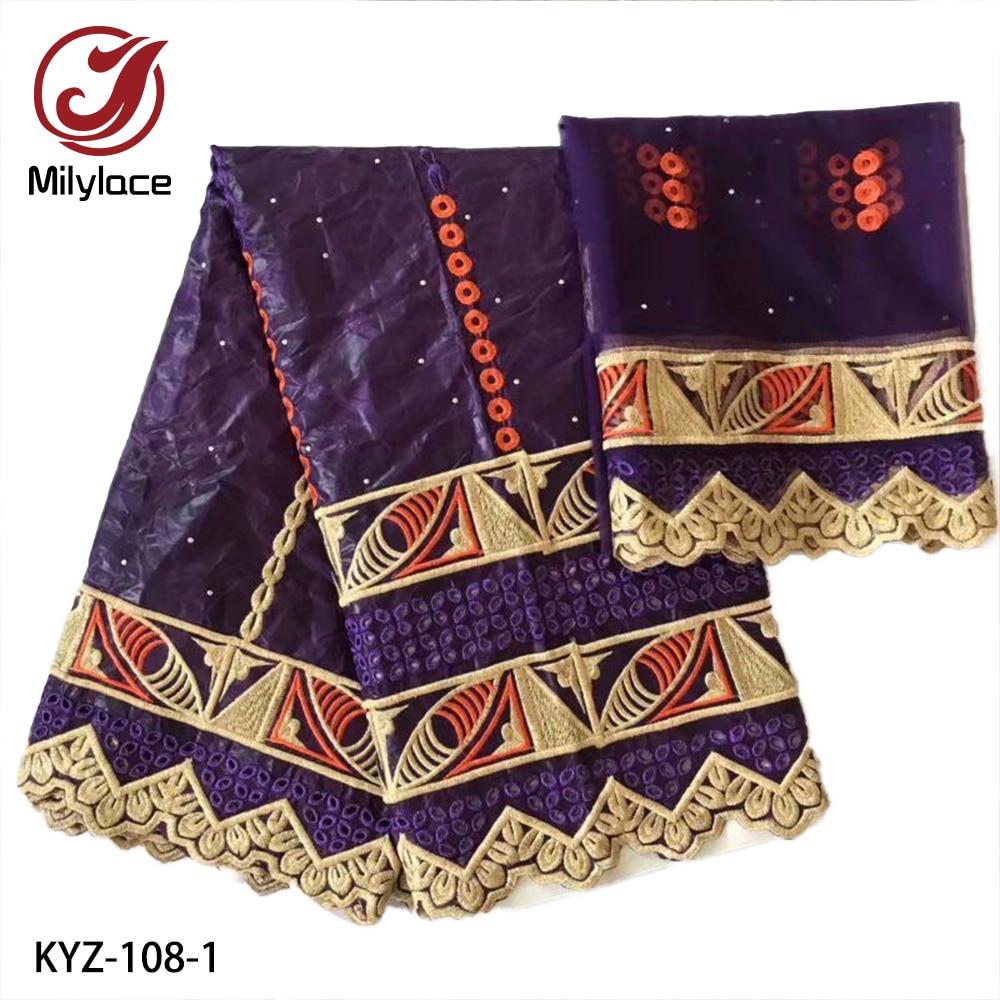 Dernier Bazin tissu Riche Getzner coton pour robe de mariée avec 2yards maille dentelle tissu pour vêtements tissu KYZ-108