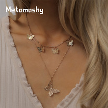 2 Pcs/Set Gold Sliver Women Fashion Butterfly Pendant Necklace Double Layer Necklace Statement Choker Necklace for Women Jewelry 2 feet passive crystal sliver 18 pcs