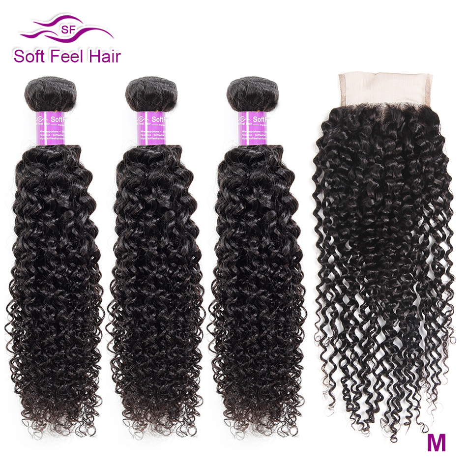 Soft Feel Hair Curly Bundles With Closure Brazilian Kinky Curly Hair With Closure Remy Weave Human Hair 3/4 Bundles With Closure