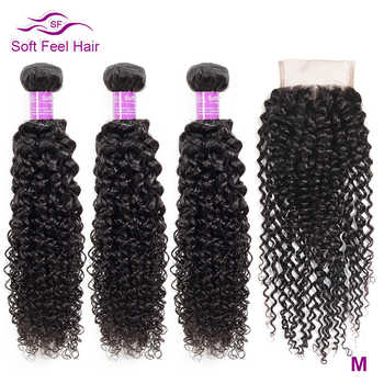 Soft Feel Hair Curly Bundles With Closure Brazilian Kinky Curly Hair With Closure Remy Weave Human Hair 3/4 Bundles With Closure - DISCOUNT ITEM  57% OFF All Category