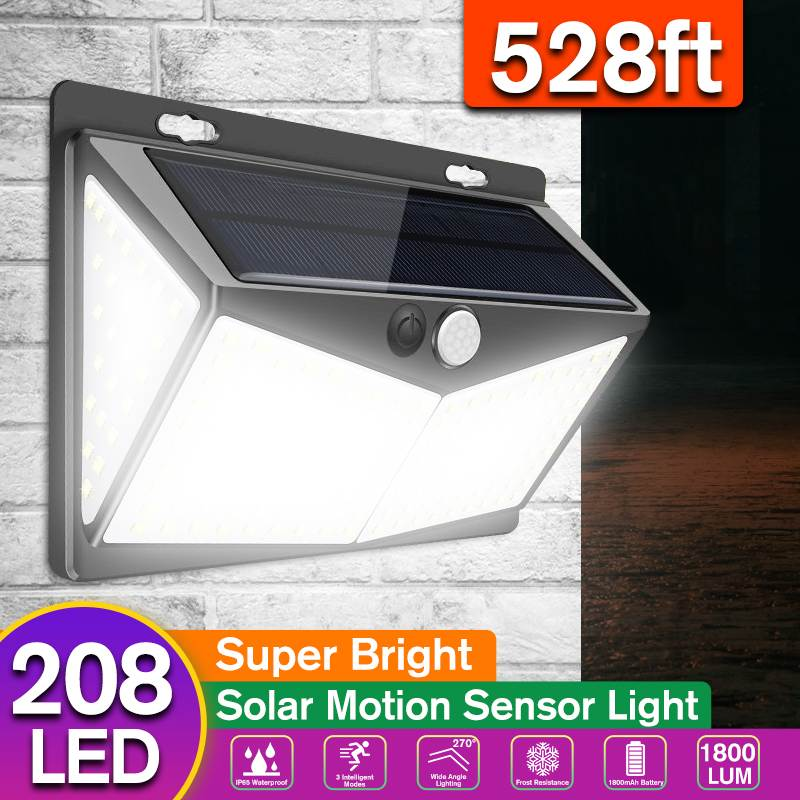 208 LED Solar Light 3 Mode Outdoor Solar Lamp Powered Sunlight Waterproof PIR Motion Sensor Street Light For Garden Decoration