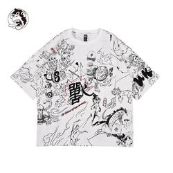Tee Boy Skate Tshirt Tops Summer male Female T shirts Skateboard 100% cotton Men Rock Hip hop Graffiti Street wear Hand-painted