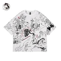 Tee Jongen Skate Tshirt Tops Zomer mannelijke Vrouwelijke t-shirts Skateboard 100% katoen Mannen Rock Hip hop Graffiti Street wear handgeschilderde