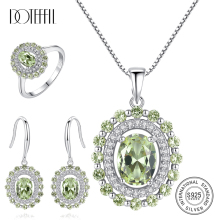 DOTEFFIL Olive Green Topaz Diamond Jewelry Set Ring/Earring/Necklace 100% 925 Silver For Women Gift Fashion Wedding Fine Jewelry