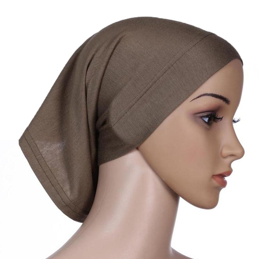 Мусульманский женский шарф Национальный Рамадан аксессуары для волос тюрбан декоративная хлопковая шапка шапочки под хиджаб Мода Защита от солнца пляж - Цвет: Coffee