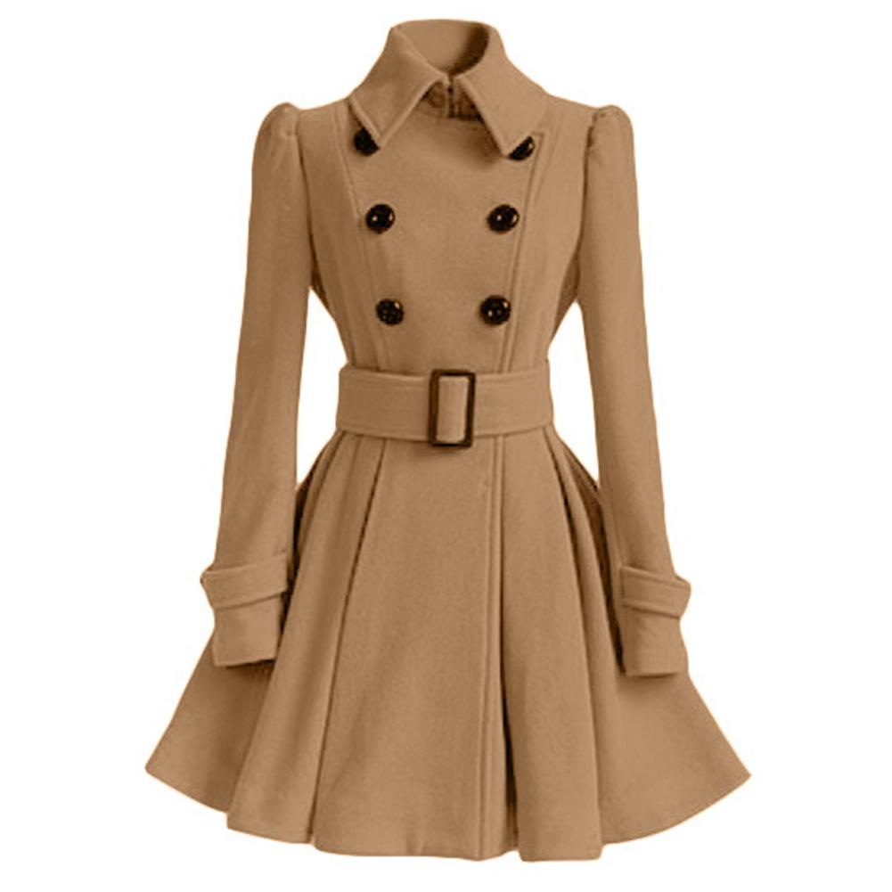 Vintage Women Lapel Collar Double-breasted Waist Belt Large Swing Dress Coat Women Dress Coat Women Dress Coat Women Dress Coat