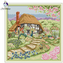 Joy Sunday,Rose Cottage,cross stitch embroidery,printing cloth embroidery,cross needlework,Scenery picture cross