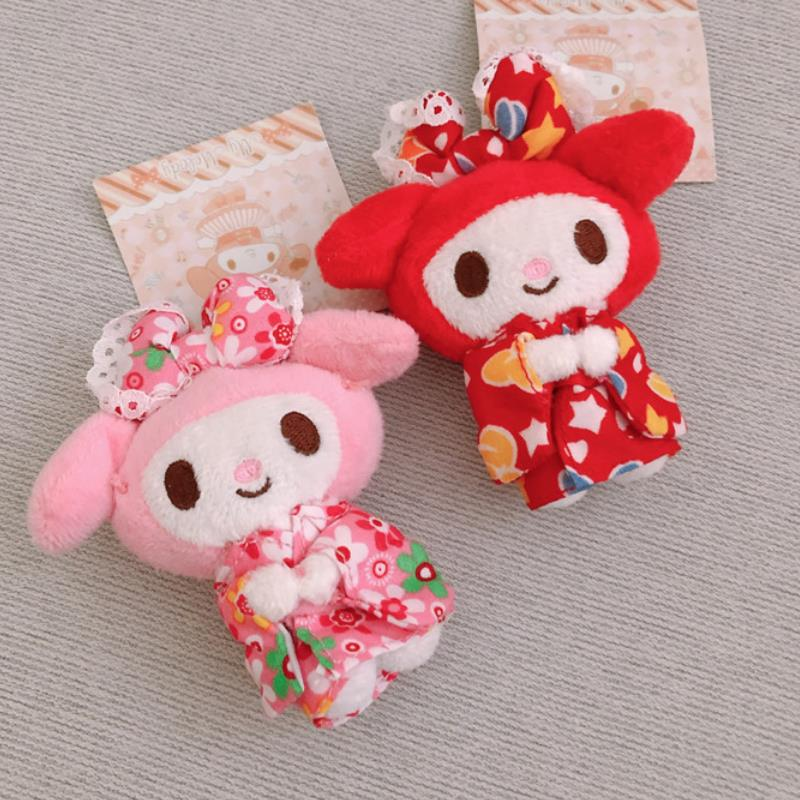 1pc Kawaii Japanese Cartoon Kimono My Melody Plush Doll Keychian Accessory Bag Pendant Stuffed Plush Toys For Kids Girl Gift