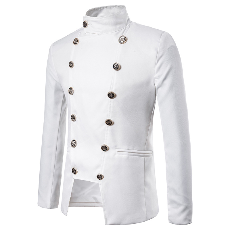 Mens White Double Breasted Blazer Jacket Slim Fit Stand Collar Blazer Men Daily Business Casual Jacket Male Veste Costume Homme