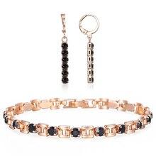 Bracelet-Sets Earrings Rose-Gold 585 Cubic-Zircon Dangling Women for Girl Trend Jewelry