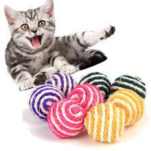 Brinquedo de brinquedo de brinquedo de gato sino de gato de estimação sisal corda tecer bola teaser jogar mascar chocalho pegar brinquedo atrair brinquedos de gato