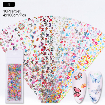 10 Pcs Rose Flowers Nail Foils Tropical Leaves Colorful Nail Decals Transfer Decorations Sets for Manicuring DIY Sticker Slide 23