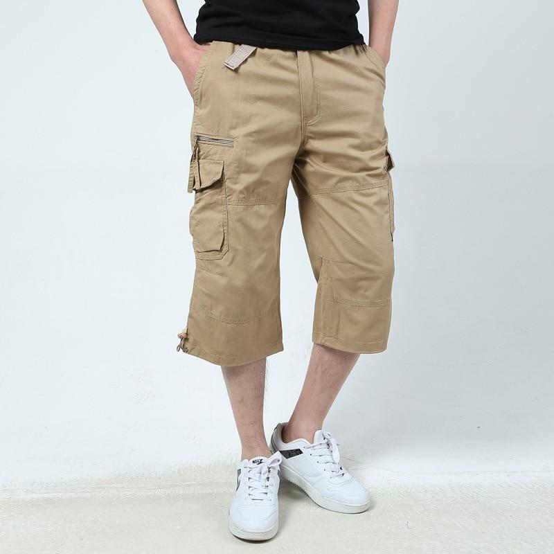 Men 100% Cotton Summer Casual Calf Length Pants  Men's Multi Pockets Short Pants Slim Straight Loose Mens Pants Plus Size 5XL