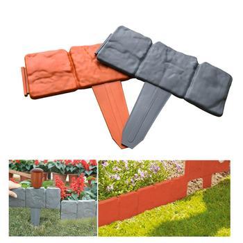 20 шт. серый/оранжевый садовый забор, окантовка из мощеного камня, эффект DIY, пластиковая лужайка, окантовка растений, декоративный садовый пе...