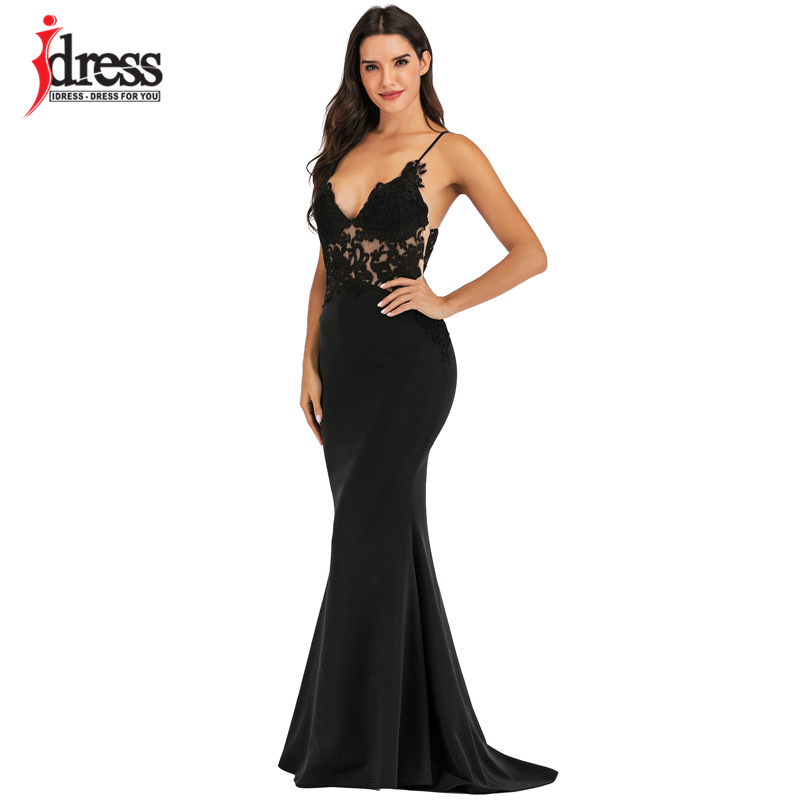 IDress Pink Black White Lace Sexy Maxi Dress Women Elegant Party Club Dresses Spaghetti Strap Backless Bridesmaid Party Dresses (6)