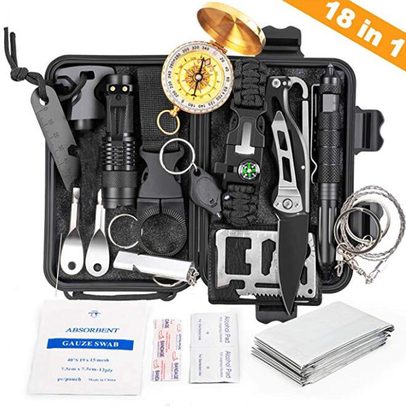 18 In 1 Emergency Survival Kit Professional Tactical Defense Equitment Tools With Knife Compass For Adventure Outdoors Sport