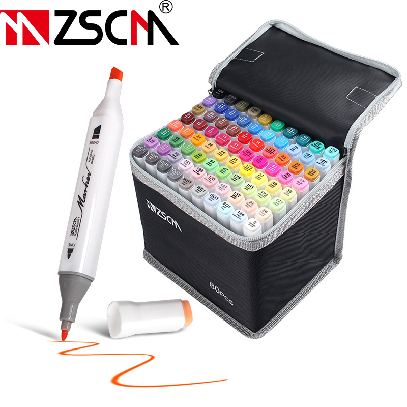 12/24/36/60/80 Colors Manga Drawing Marker Pens Alcohol Based Sketch Felt-Tip Oily Twin Brush Pen Permanent Art Markers Supplies