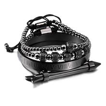 Luxury 4pcs/Set Stainless Steel Arrow Bracelet Hip Hop Men Jewelry Roman Number Charm Cool Jewelry For Men Pulseira Bileklik