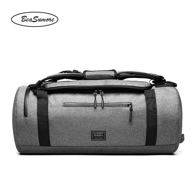 Image 5 - BeaSumore Men Multifunction Shoulder Backpack Short distance Travel Bag  High capacity Hand School Bag-in Backpacks from Luggage & Bags