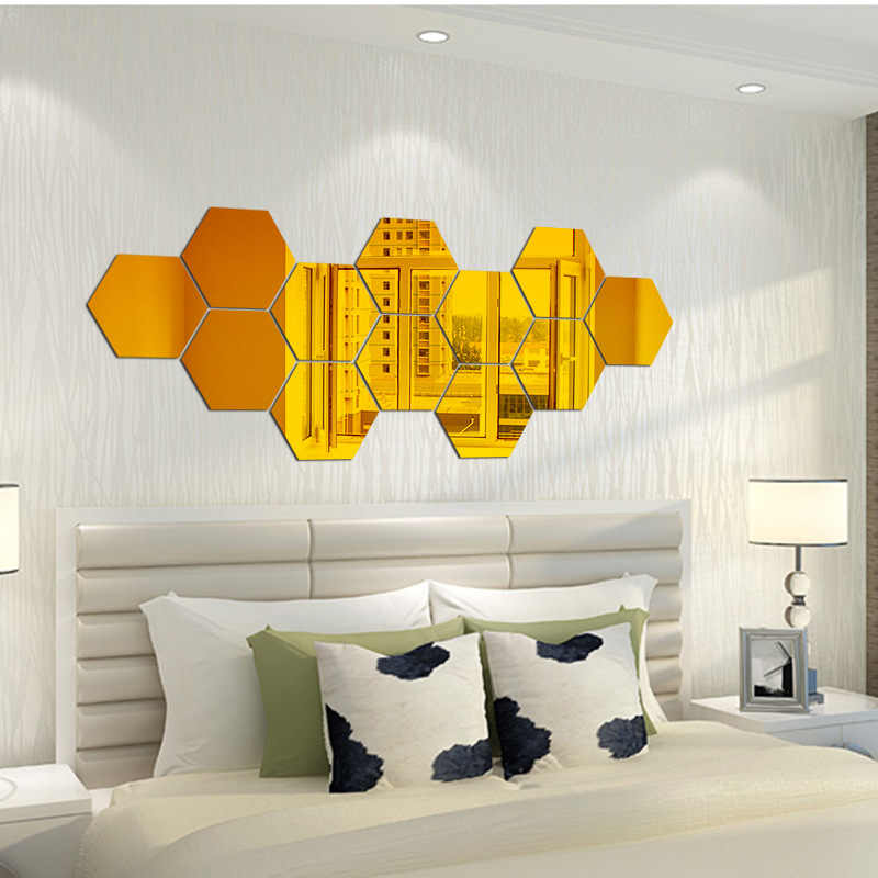 7 Pçs/set 3D Hexágono Acrílico Espelho de Parede Adesivos DIY Art Decor Wall Stickers Home Decor Sala de estar Adesivo Espelhado Ouro