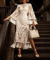 Women Summer White Long Dress O Neck Embroidery Tassel Vintage Dress Elegant Flare Sleeve Party Dresses