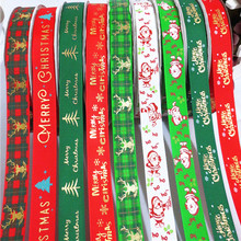 25mm Christmas Ribbon Printed Grosgrain Ribbon for Gift Wrapping Wedding Decoration Hair Bows DIY, 50 yards/lot()