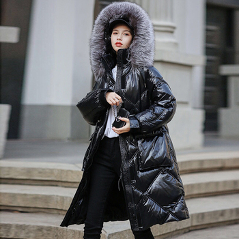 Large Real Silver Fox Fur 2020 New Women 90% White Duck Down Long Jacket Winter Hooded Down Coat Thick Warm Parkas Snow Outwear image