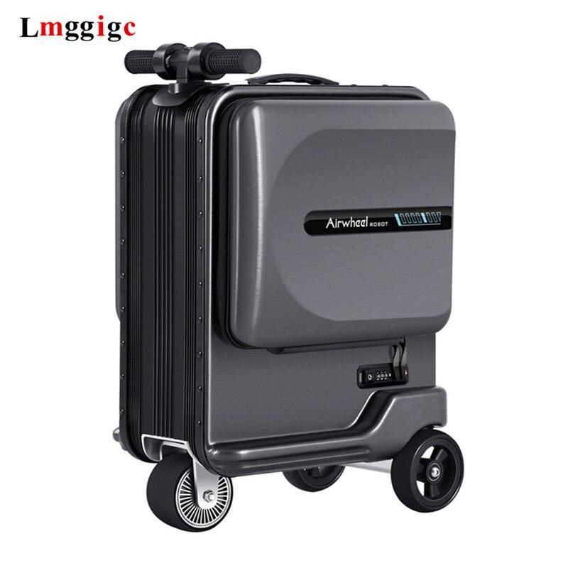 Nova equitação elétrica mala saco de viagem de rolamento inteligente caixa bagagem rideable trole caso apenas 7.5 kg scooter cabine continuar