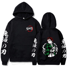 Demônio slayer hoodie moda casual japonês anime hoody masculino