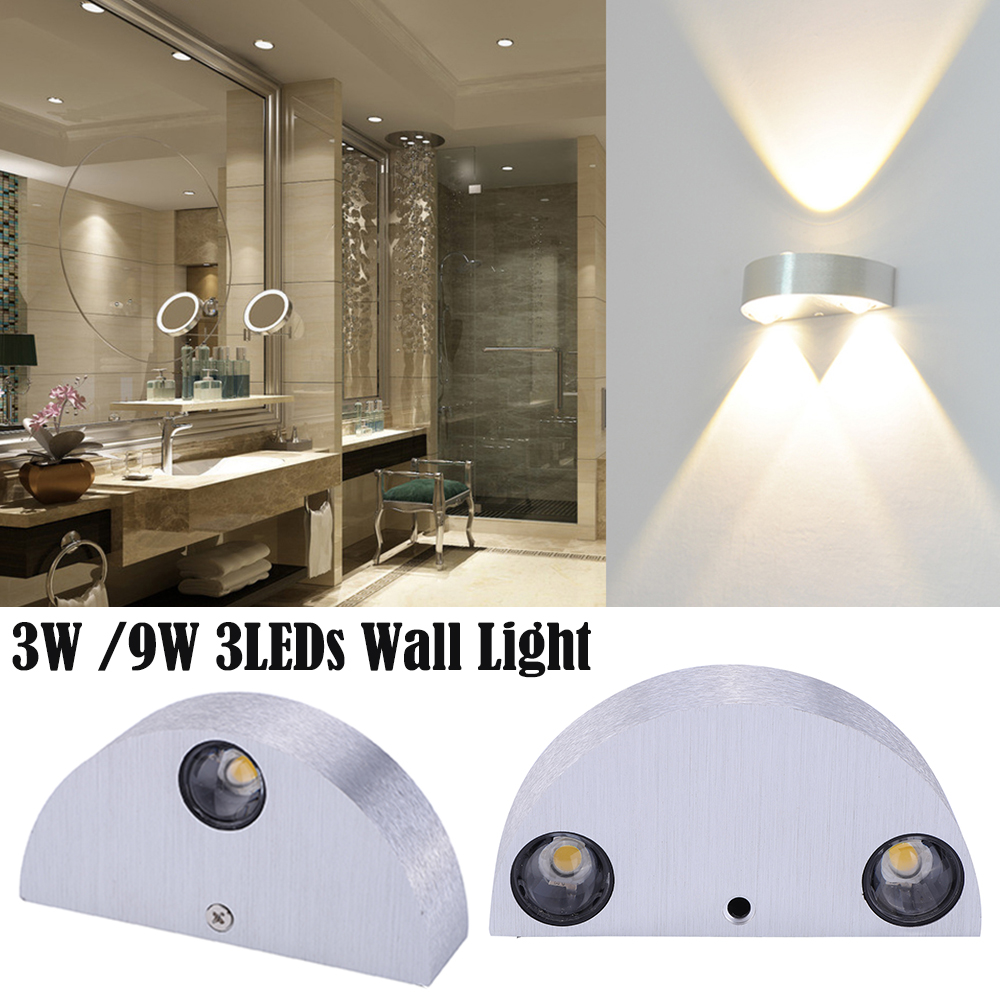 Modern Led Wall Lamp 3/ 9W Aluminum Body Semicircle Wall Light For Bedroom Home Lighting Luminaire Bathroom Wall Sconce D20