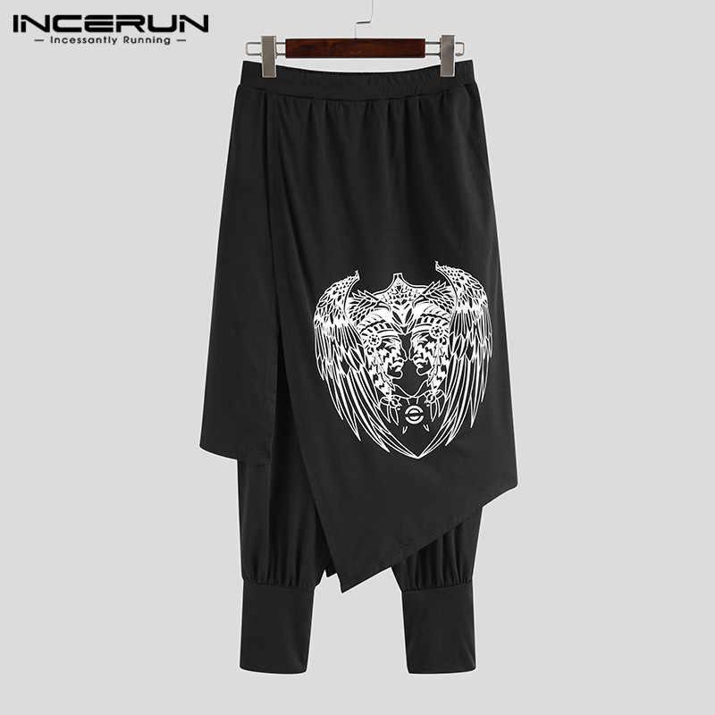 INCERUN 남성 하렘 바지 프린트 캐주얼 루즈 하라주쿠 신축성있는 허리 펑크 바지 남성 조깅스 Streetwear Skirts Pants S-5XL 2020