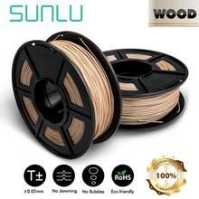 Sunlu filamento de madeira da impressora 3d do pla 1kg 1.75mm fechar materiais de impressão 3d do efeito de madeira
