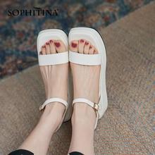 SOPHITINA sandały damskie moda płaskie ze skóra Premium sandały klamra pasek komfort platformy zielone damskie buty na co dzień DO758