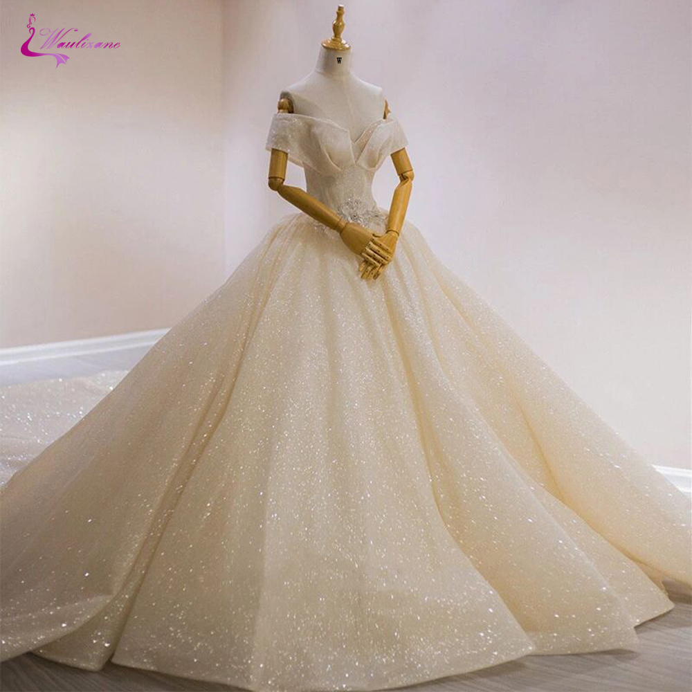 Waulizane 2020 Bling Bling Sparkly Ball Gown Wedding Dress Shiny Princess Bride Dress
